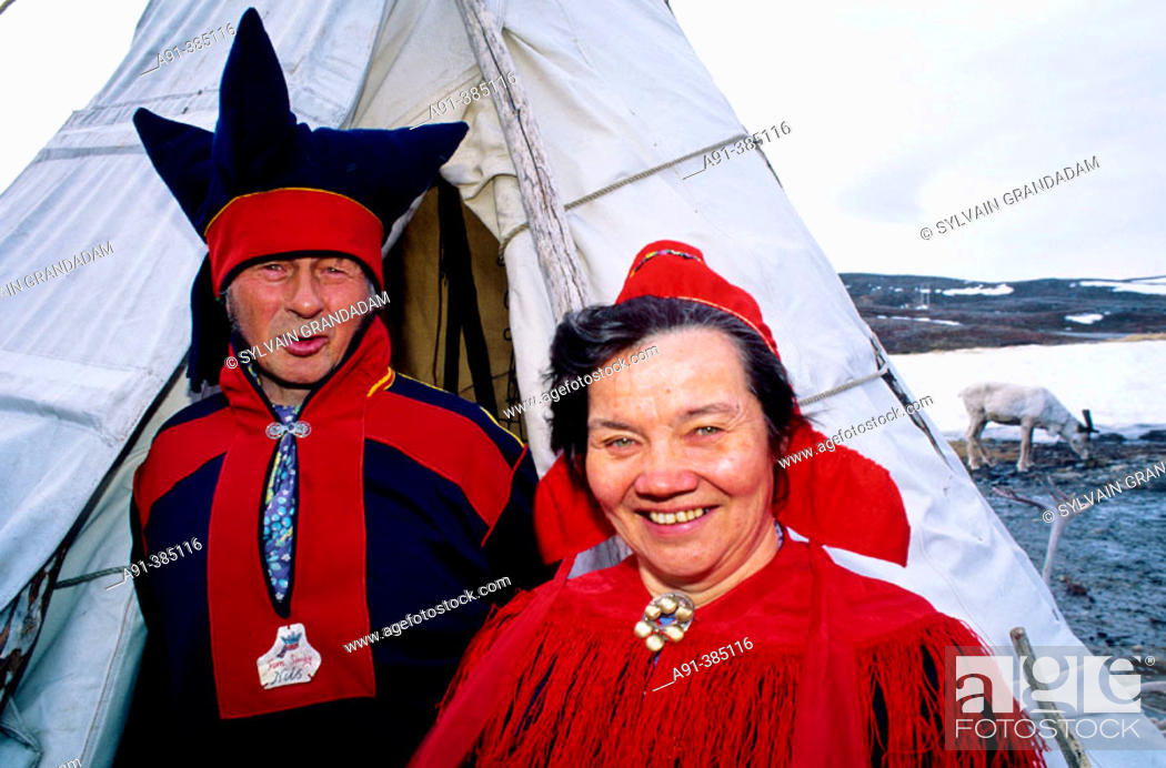 Stock Photo - Sami (lapp) people in their tent. North Cape. Coastal express cruise (Hurtigruten) from Bergen to Kerkeres (North Cape). Norway (Scandinavia)  sc 1 st  Age Fotostock & Sami (lapp) people in their tent. North Cape. Coastal express ...