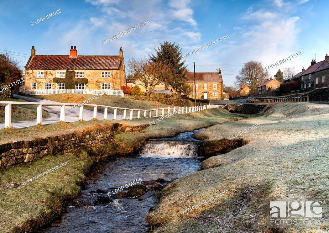 Stock Photo: Winter at Hutton beck in Hutton le Hole village.