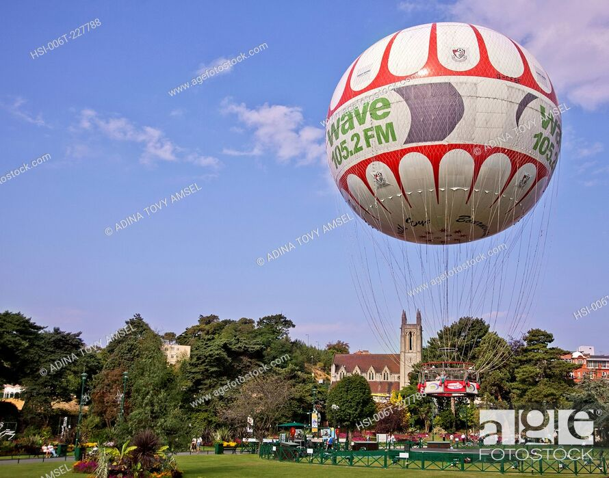 Stock Photo: United Kingdom. England. Dorset. Bournemouth. Hot air balloon.