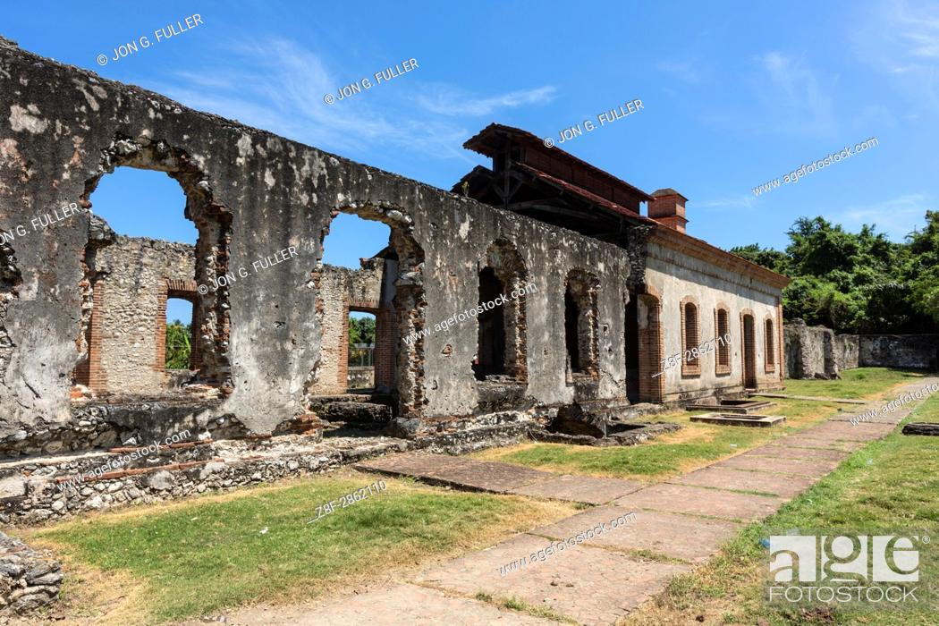 Stock Photo: Ruins of the Nigua Sugar Mill, or Ingenio Boca de Nigua, built in the 1600's in Nigua in the Dominican Republic. In 1796.
