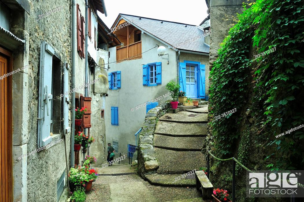 Stock Photo: Castillon-en-Couserans town, Ariège department, France.