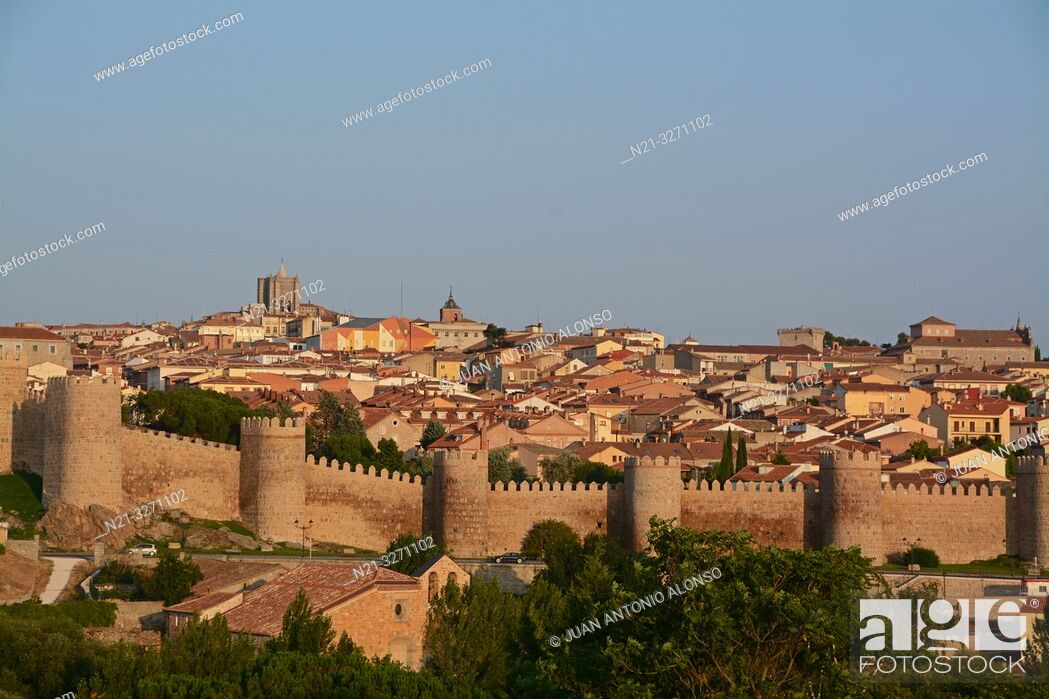 Stock Photo: Partial view of the fortified city of Avila with the Cathedral of Christ the Saviour standing out. Castilla-Leon, Spain, Europe.