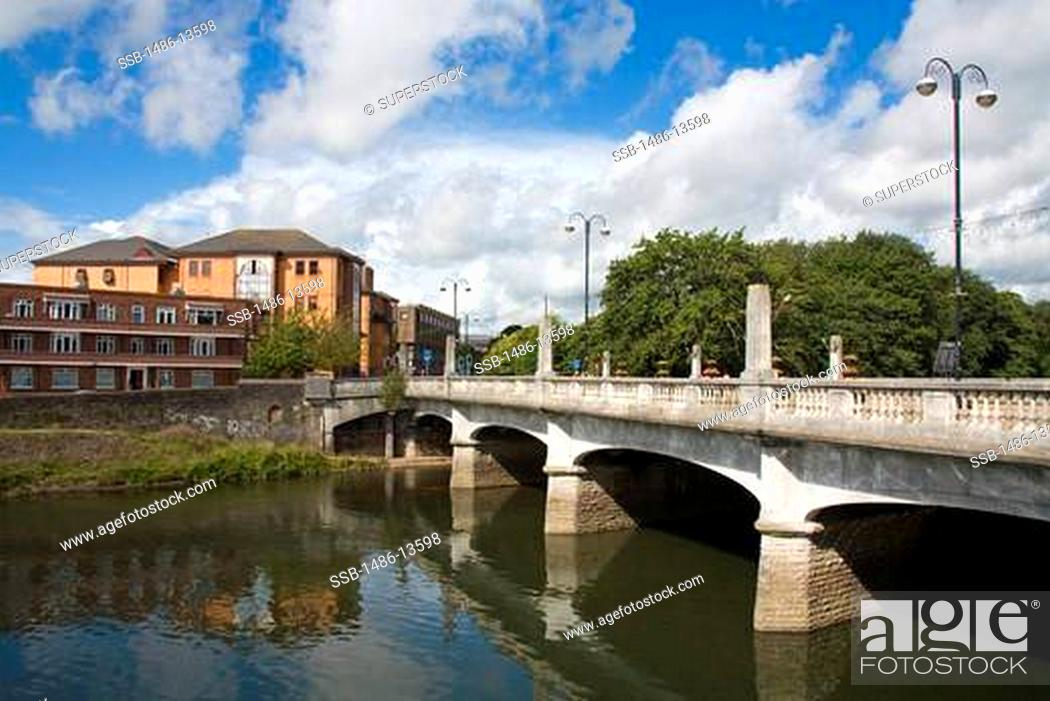 Stock Photo: Castle Street Bridge over River Taff,Cardiff City, Wales, United Kingdom, Great Britain, Europe.