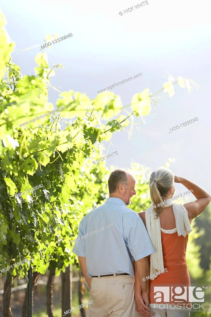 Stock Photo: Mature couple at the vineyard back view.