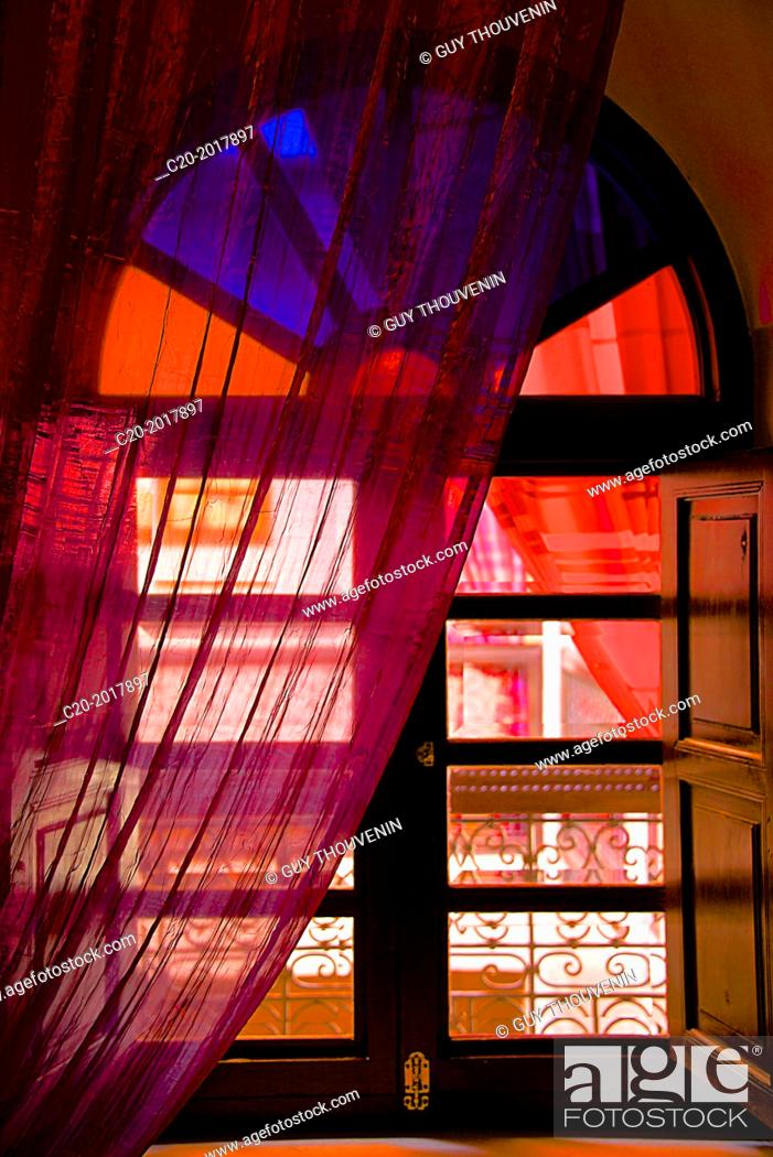 Stock Photo: Window with curtains, Moroccan Riad, inside, upper gallery, Marrakech, Morocco.