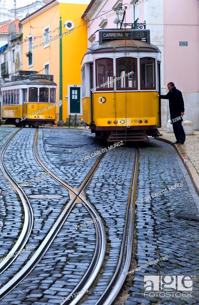 Stock Photo: Tram on Rua de Sao Tome, Alfama district, Lisbon, Portugal.