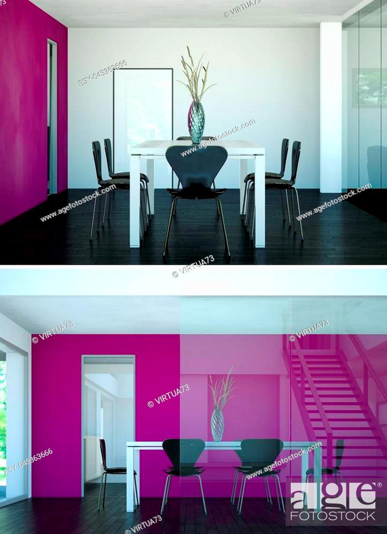 Stock Photo: Two views of modern interior loft design wiht table and chairs 3d Rendering.