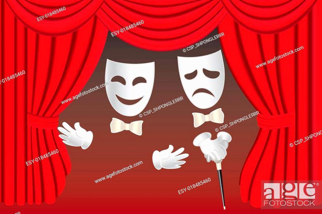 Vecteur de stock: Theatre masks and curtains.