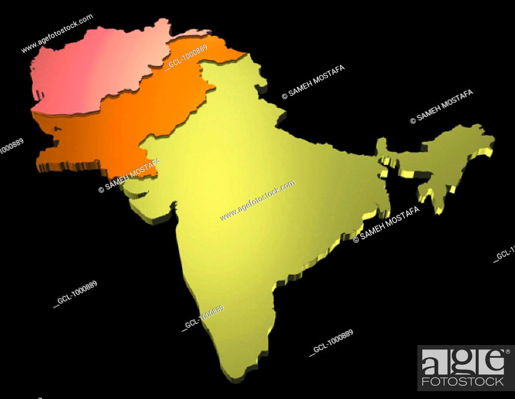 Stock Photo: map of India, Pakistan and Afghanistan.