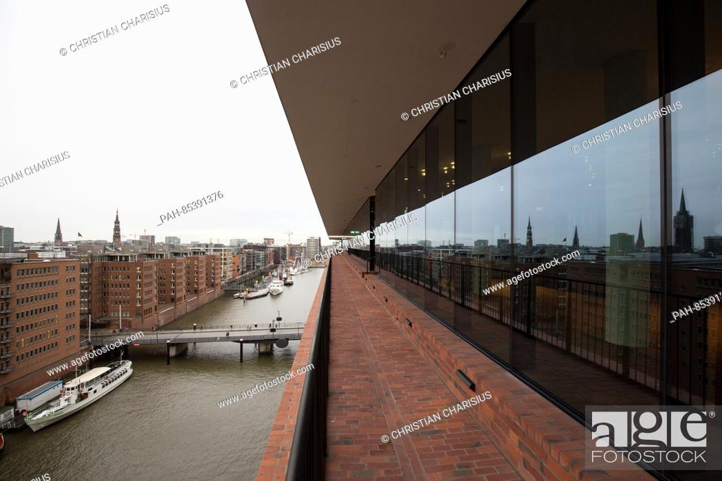 Stock Photo: The outside plaza with a view of HafenCity and the Speicherstadt seen during a press tour in the Elbphilharmonie in Hamburg, Germany, 01 November 2016.