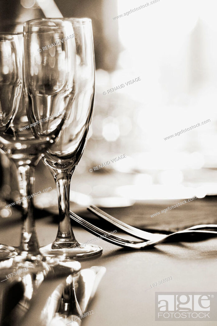 Stock Photo: Glasses and silverware at a wedding reception. Moret-sur-Loing near Paris. France.