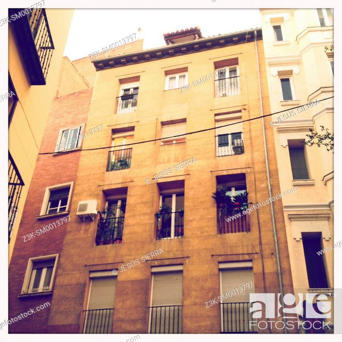 Stock Photo: Old house in Madrid, Spain.