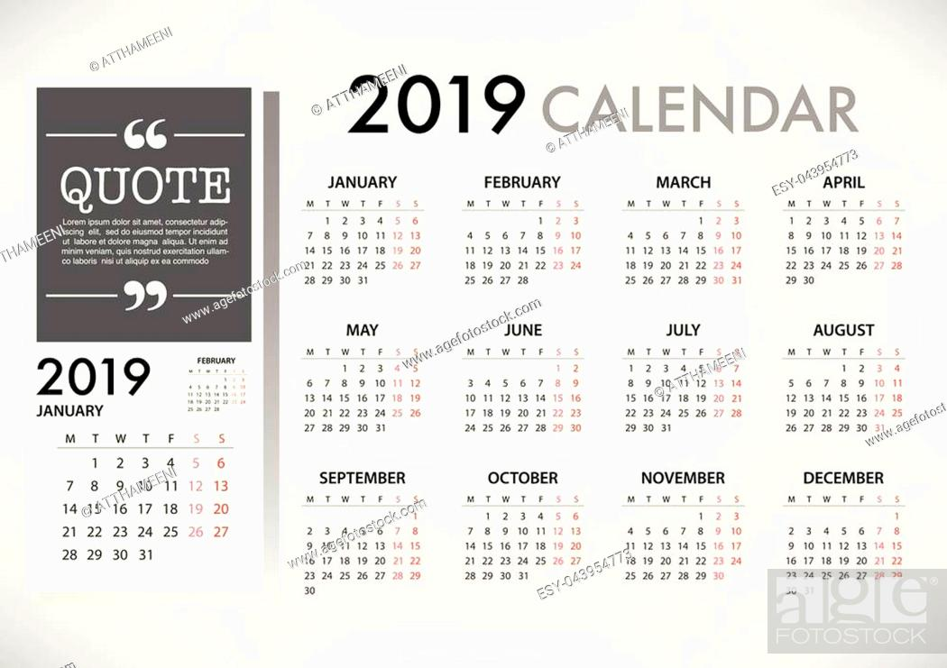 Stock Vector: Calendar for 2019 on grey background with quote message. Week Starts Monday. Simple Vector Template.
