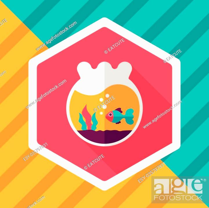 Stock Vector: Pet goldfish bowl flat icon with long shadow,eps10.