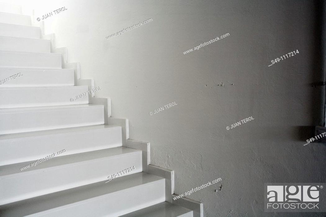 Stock Photo: interior white stairs.
