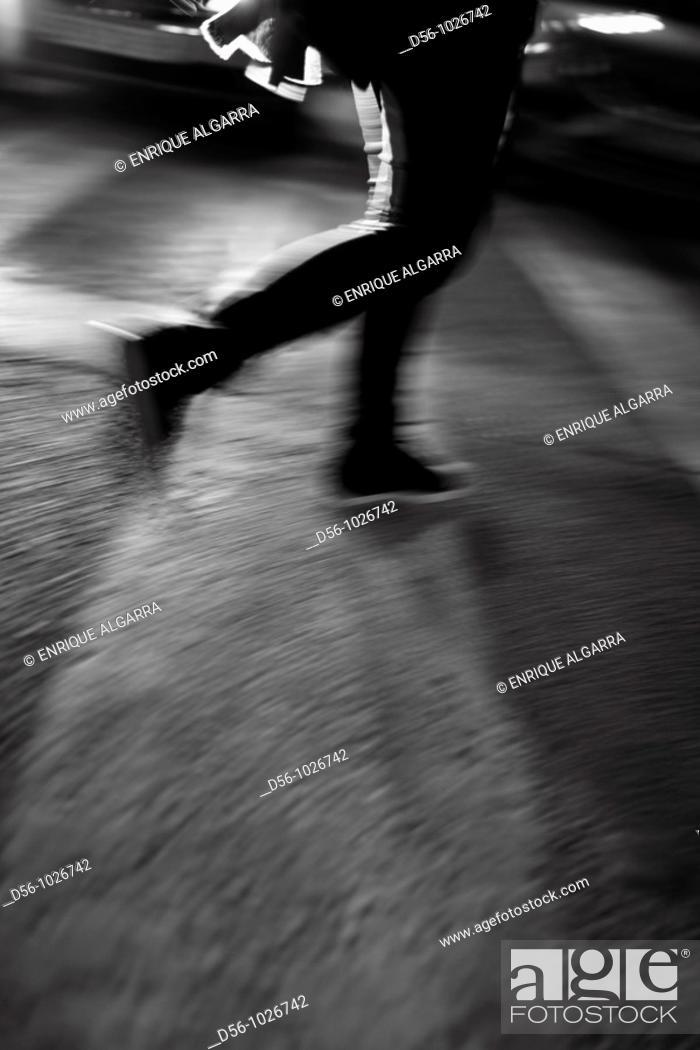 Stock Photo: Pedestrian, blurred image.