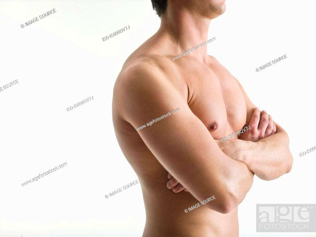 Stock Photo: Barechested man.