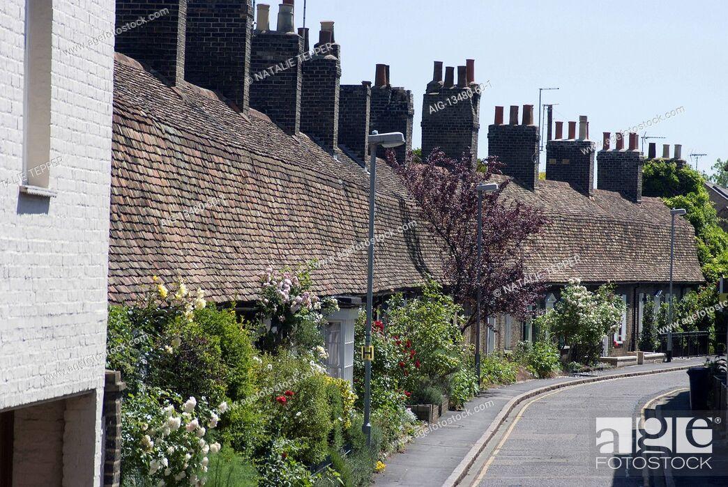 Stock Photo: Victorian retro-style residential cottages, Cambridge, Cambridgeshire, England.