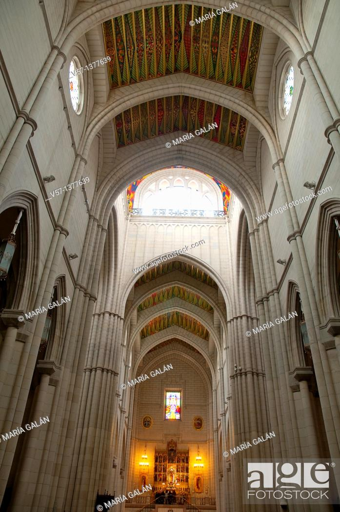Stock Photo: The Almudena cathedral, indoor view. Madrid, Spain.
