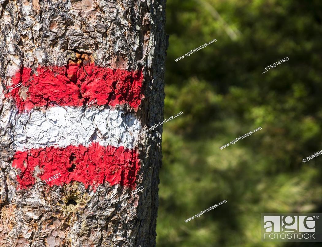 Stock Photo: Austrian hiking blaze or trail marker, Austria, Europe.