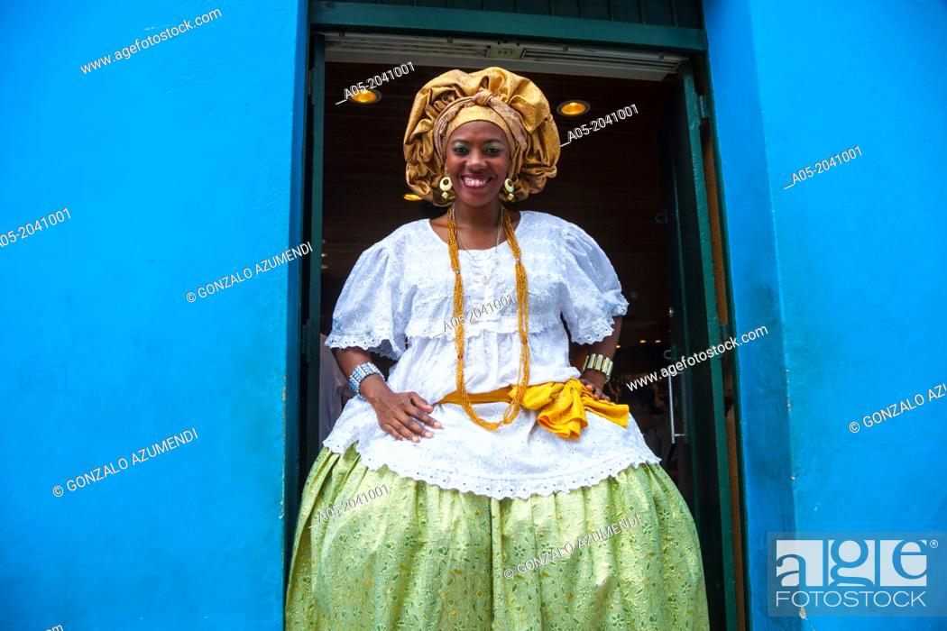 Stock Photo: Bahiana in Pelourinho, Salvador, Bahia, Brazil.
