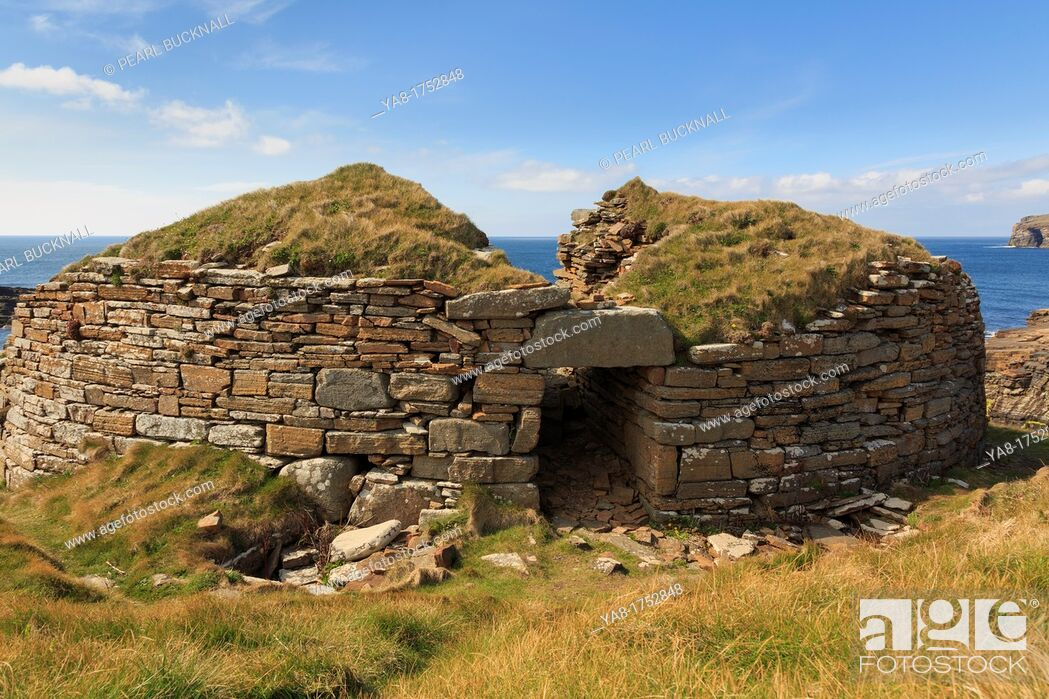 Stock Photo: Yesnaby, Sandwick, Orkney Mainland, Scotland, UK, Great Britain, Europe  Ruined remains of ancient Broch of Borwick a fortified stone round tower on the west.
