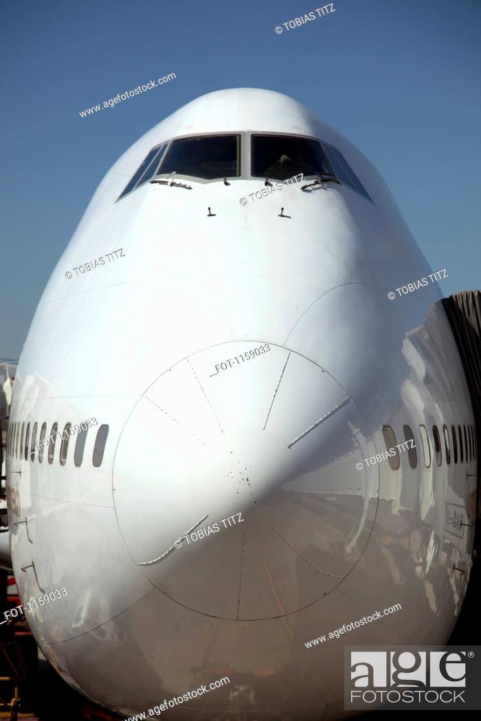 Stock Photo: Front of jumbo jet.