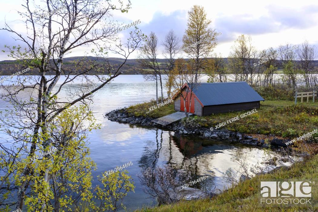 Stock Photo: Aursunden lake, road FV561, Sør-Trøndelag county, Norway, Europe.