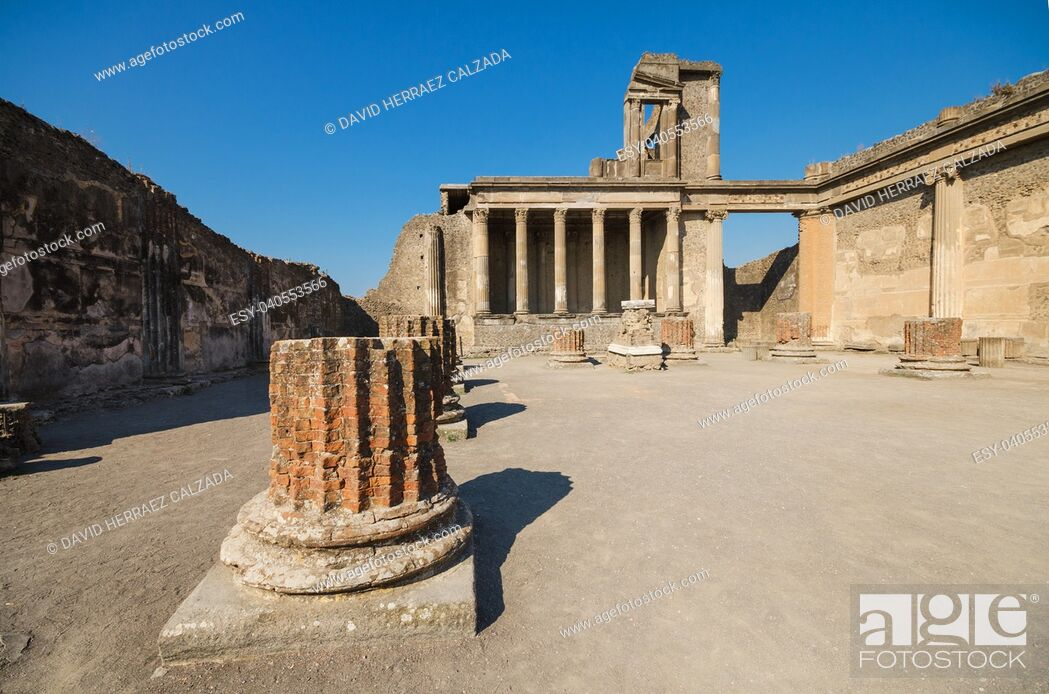 Stock Photo: Ruins of the ancient roman city of Pompeii, which was destroyed by volcano, Mount Vesuvius, about two millenniums ago, 79 AD.