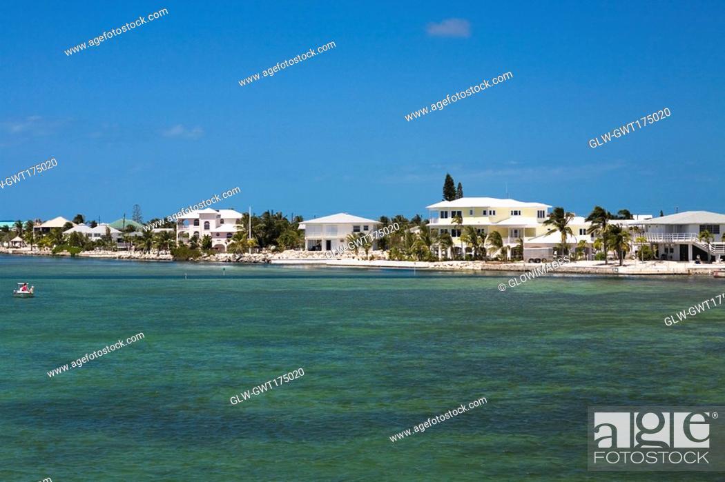 Stock Photo: Tourist resort at the waterfront, Florida Keys, Florida, USA.