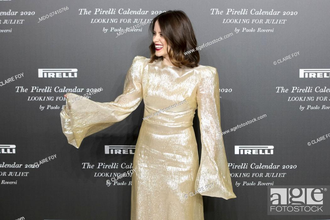 Stock Photo: British actress Claire Foy during the presentation of the Pirelli 2020 Calendar at the Verona Philharmonic Theater. Verona (Italy), December 3rd, 2019.