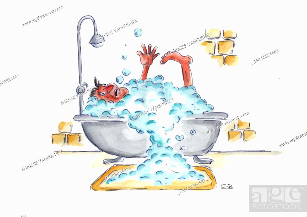 Stock Photo: Illustration, man, bath, gesture, panic,  drowns,   Drawing, bathtub, bubble bath, symbol, personal hygiene, body hygiene, Baden, cleans,  plantschen, fearful.