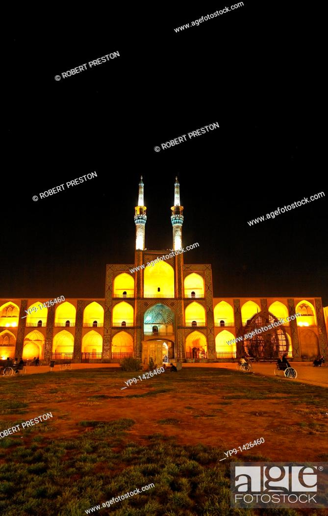 Stock Photo: Night view of the Mir Chaqmaq facade, Yazd, Iran.