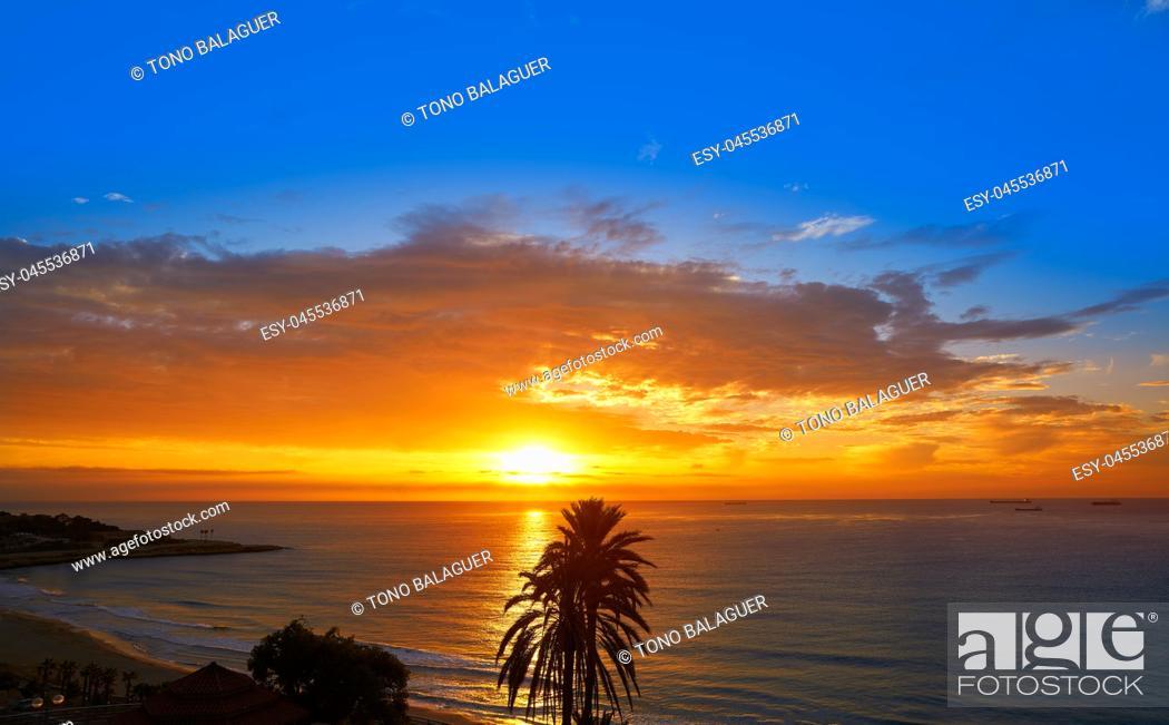 Stock Photo: Tarragona Balcony of Europe at sunrise in Catalonia.