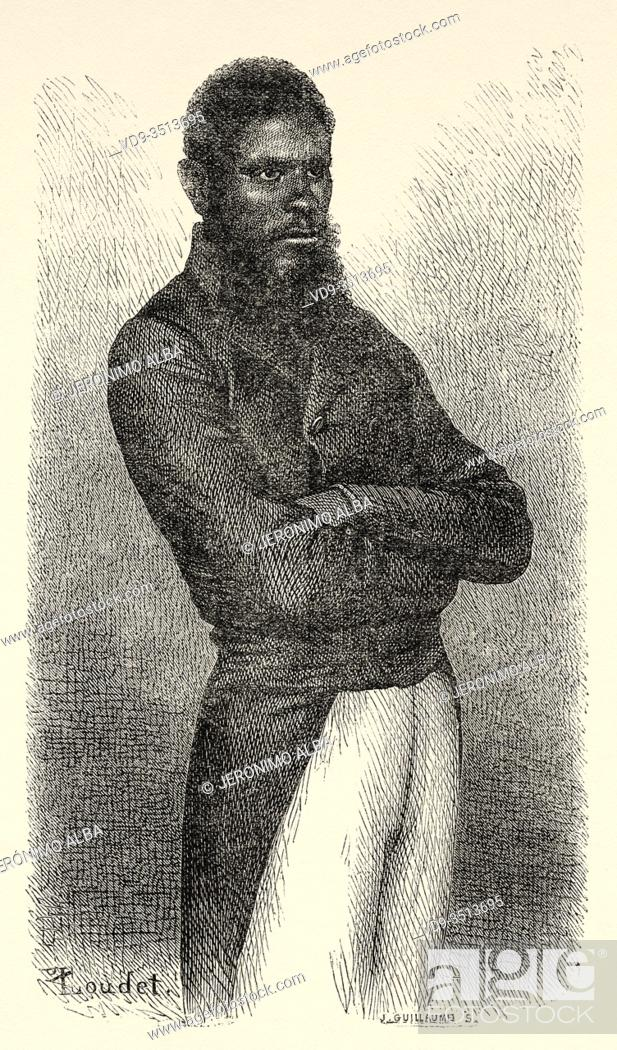 Stock Photo: Chief of Ouen isle, New Caledonia. Old engraving illustration, Journey to New Caledonia by Jules Garnier.