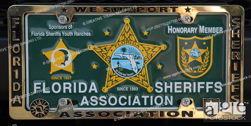 Imagen: Vehicle vanity licence plate belonging to an honorary member of the Florida Sheriffs Association.