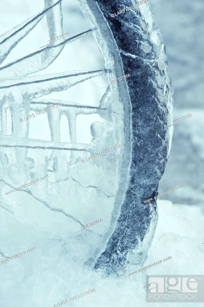 Stock Photo: Close-up of Bicycle wheel covered in ice, Sweden.