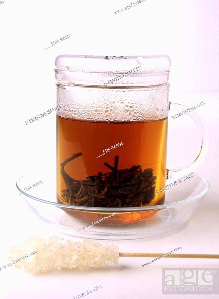 Stock Photo: tea glass and sugar.