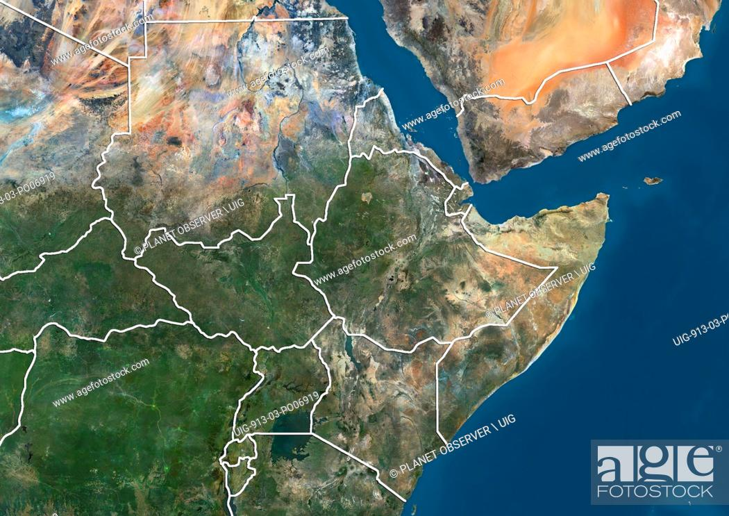 Satellite View Of Northeast Africa With Country Boundaries Stock