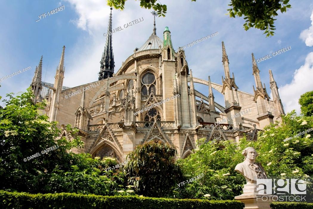 Stock Photo: Back view Notre Dame Cathedral, Paris, France.