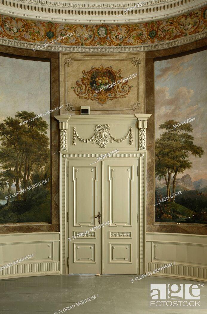 Imagen: 1783 von Johann Gottfried Brügelmann gegründet, erste Textilfabrik auf dem europäischen Festland. Herrenhaus, Gartensaal mit Landschaftsmalereien.