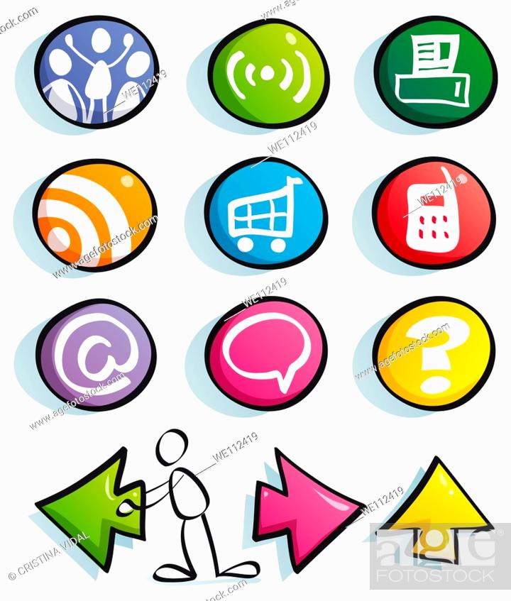Stock Photo: internet color buttons for cute website: mail, frequently asked questions, information, home, find, net, comuinity, Social Networkicons, set, web, business.