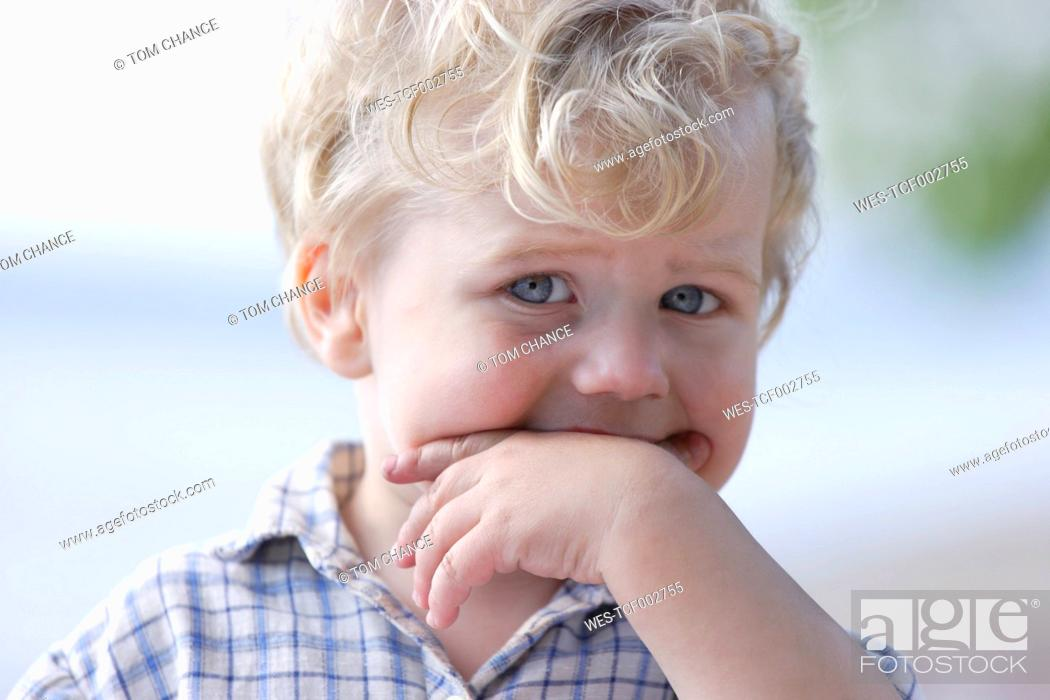 Stock Photo: Germany, Bavaria, Portrait of boy, close up.