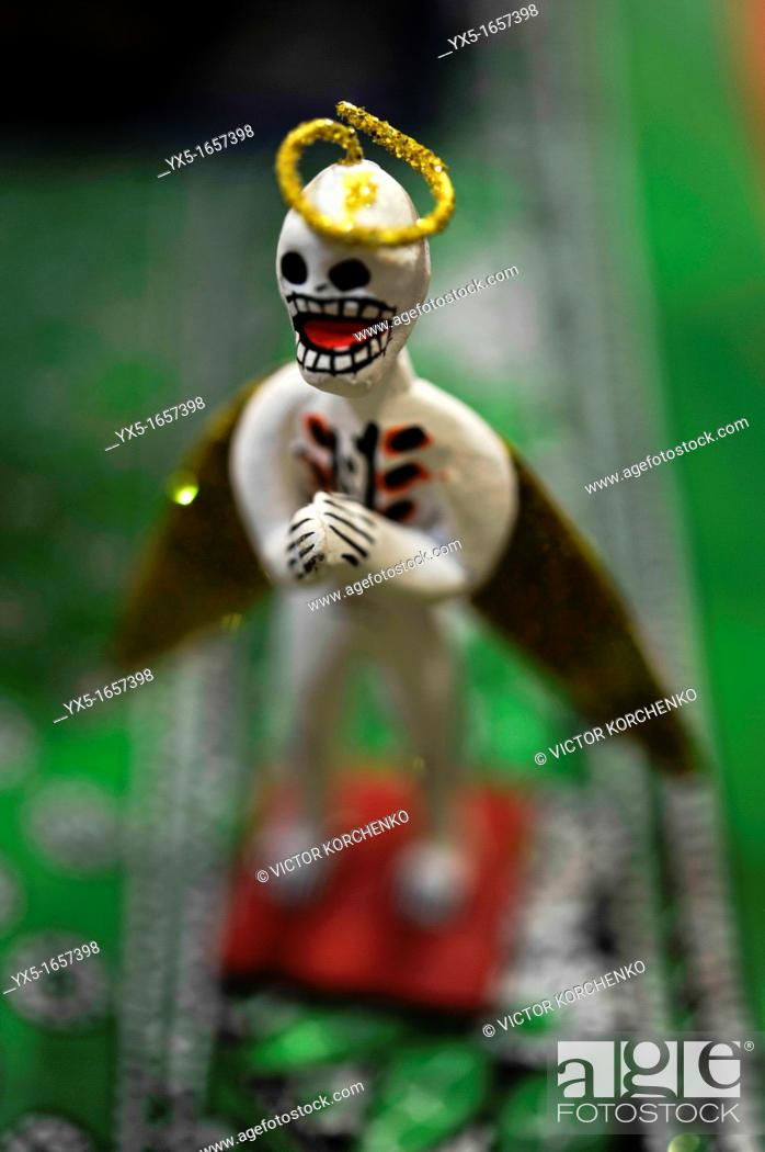 Stock Photo: Mexican toys depicting the dead catrina.