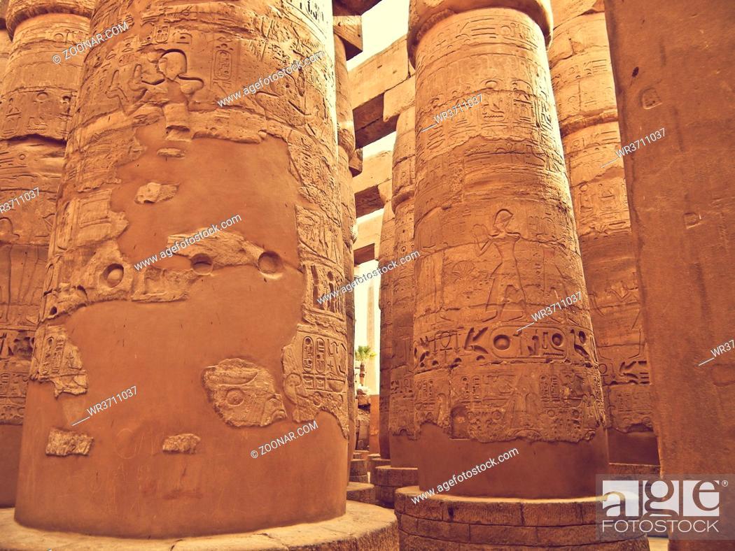 Stock Photo: pillars of the Great Hypostyle Hall, Karnak, Egypt.