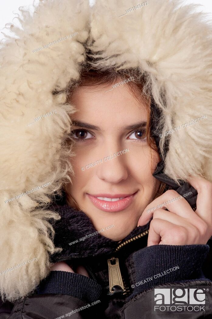 Stock Photo: People, Portrait, Human, Woman, Winter, Fashion, Season, Snow, Fur, Sale, Greatcoat, Winter Clothes, Winter Coat, Cold Temperature