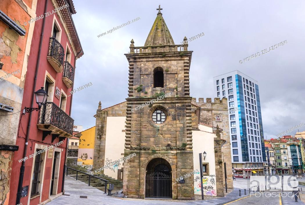 Stock Photo: Adjacent chapel of Revillagigedo Palace in Gijon in the autonomous community of Asturias in Spain.