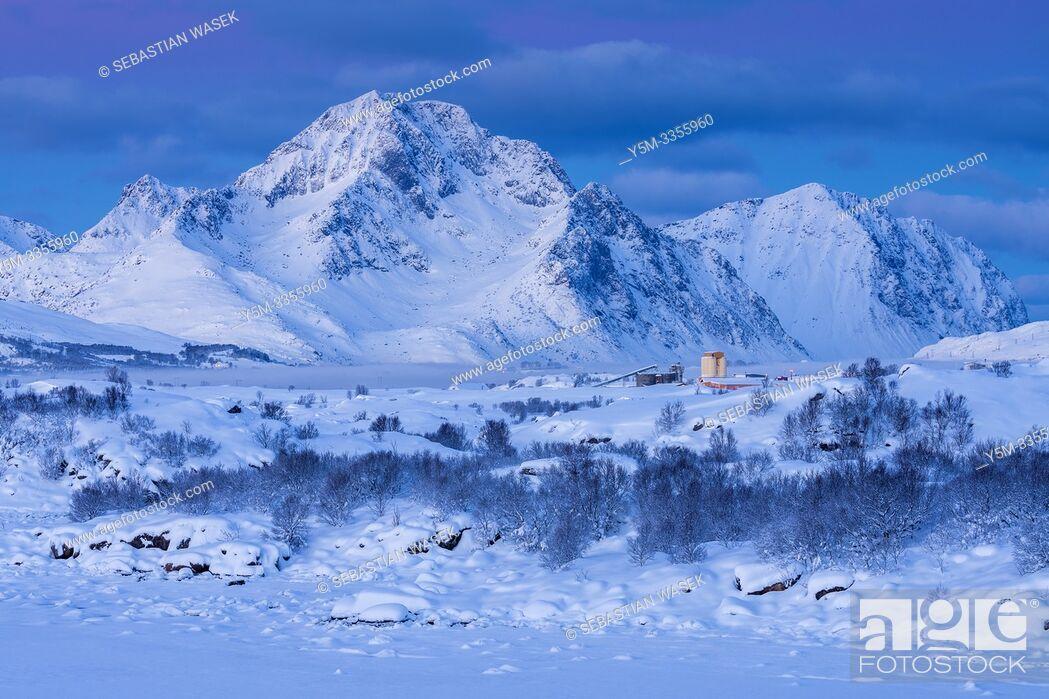 Stock Photo: Winter landscape over Buksnesfjorden near Leknes, Lofoten, Nordland, Norway, Europe.
