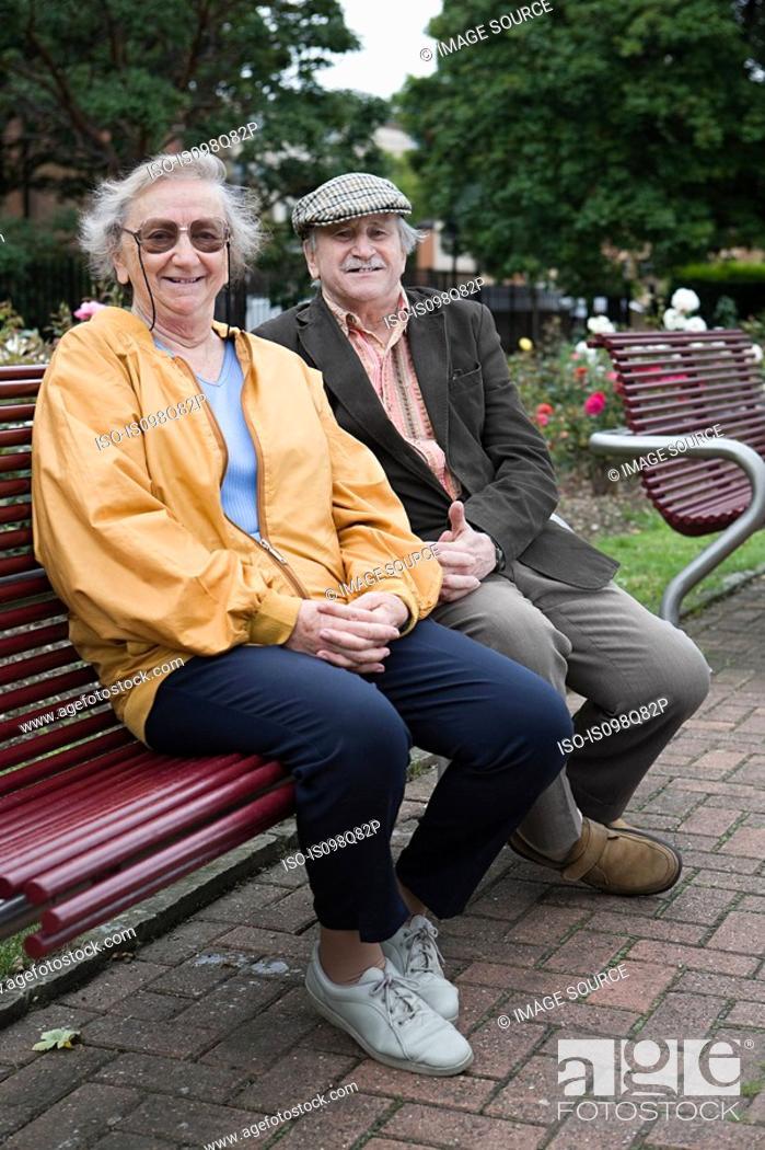 Stock Photo: Senior couple in park.