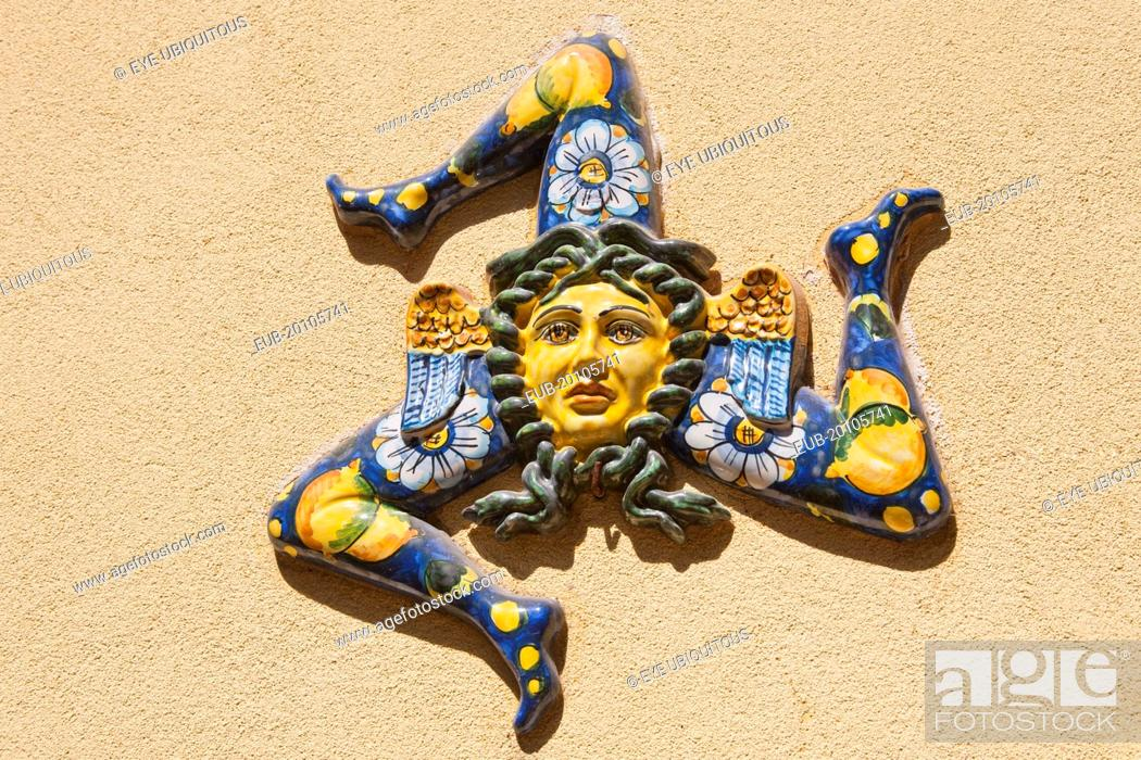 A Trinacria Ancient Symbol Of Sicily Stock Photo Picture And